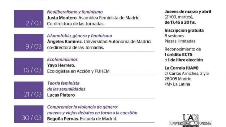 Programa de las IV Jornadas de Teorías Feministas de la UAM y Asamblea Feminista de Madrid.
