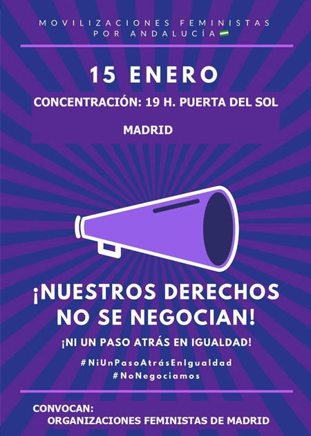 Llamamiento a la concentración en apoyo de grupos feministas de Andalucía ante el pacto de PP, C's y Vox.